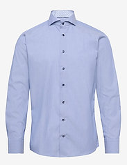 Eton - Blue hairline striped shirt – navy details - peruspaitoja - blue - 0