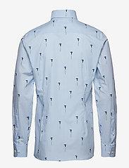 Eton - Striped Flower Print Shirt - business shirts - blue - 1