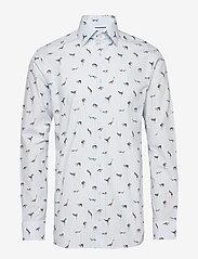Eton - Striped Animal Print Shirt - business shirts - blue - 0