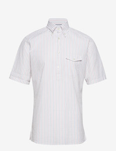 Striped Seersucker Short Sleeve Popover Shirt - oxford skjorter - white