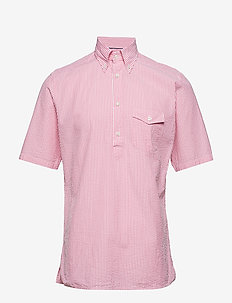 Navy Striped Seersucker Short Sleeve Popover Shirt - oxford skjorter - pink/red