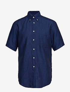 Green Linen Short Sleeve Shirt - BLUE
