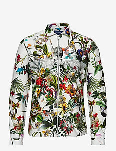 Floral Zipper Shirt - PINK/RED