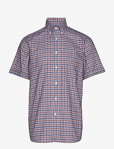 Red & Blue Checked Stretch Short Sleeve Shirt - PINK/RED