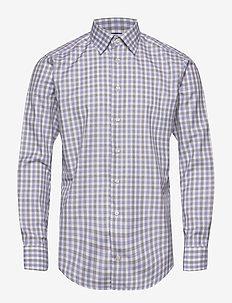 Blue & Brown Gingham Checked Twill Shirt - geruite overhemden - blue