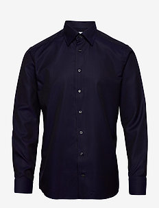 Black & Navy Jacquard Shirt - basic shirts - blue