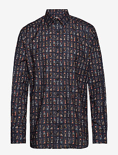 Egyptian Tarot Cards Print Flannel Shirt - BLUE