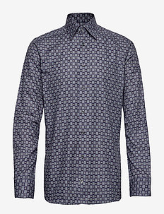 Navy Medallion Print Twill Shirt - BLUE