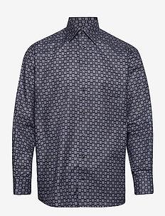 Navy Medallion Print Twill Shirt - chemises décontractées - blue