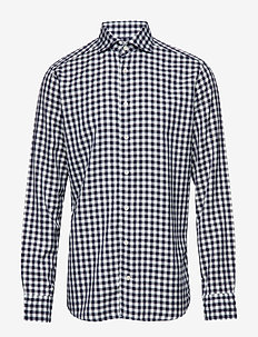 Soft Navy Gingham Checked Cotton-Tencel Shirt - BLUE