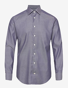 Navy Diamond Weave Twill Shirt - business shirts - blue