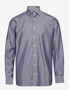 Navy Diamond Weave Twill Shirt - basic skjorter - blue