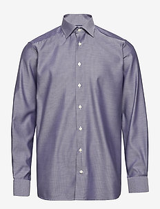 Navy Diamond Weave Twill Shirt - chemises basiques - blue