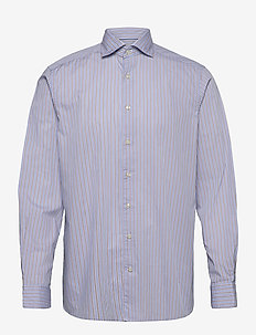 Soft Sky Blue & Brown Striped Lightweight Twill Shirt - casual-paidat - blue