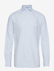 Soft Sky Blue Micro Weave Twill Shirt - BLUE