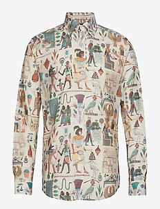 Egyptian Motif Print Twill Shirt - OFFWHITE/BROWN