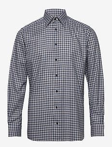 Navy Overcheck Flannel Shirt - BLUE