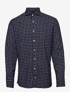 Soft Navy Checked Cotton-Tencel Shirt - chemises à carreaux - blue