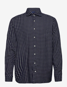 Blue & Navy Overcheck Flannel Shirt (Blue) (1799 kr) Eton