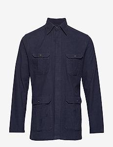 Navy Four-Pocket Overshirt - BLUE