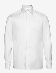 White Geometrical Jacquard Weave Shirt – French Cuffs - basic shirts - white