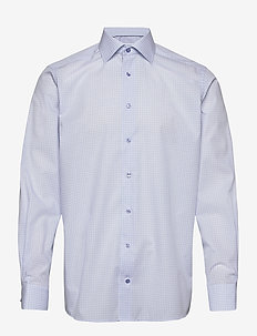 Sky Blue & Green Checked Poplin Shirt - ternede skjorter - blue