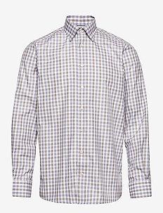 Blue & Brown Gingham Checked Twill Shirt - chemises à carreaux - blue