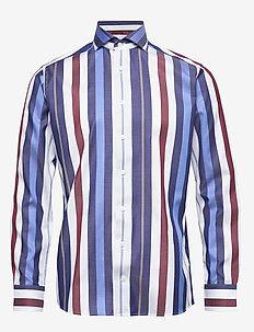Bold Striped Cotton-Tencel Shirt - PINK/RED