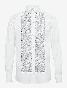 Floral Embroidery Evening Shirt - WHITE