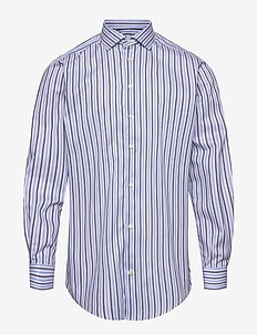 Blue & Navy Striped Fine Twill Stretch Shirt - chemises décontractées - blue