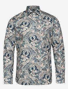 Bold Paisley Print Shirt - DARK BLUE