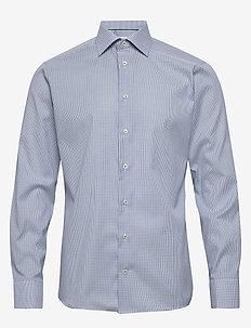 Light blue micro woven shirt - biznesowa - blue