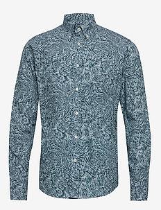 3D paisley poplin shirt - casual shirts - blue