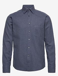 Flannel Button-Under Collar Shirt - BLUE