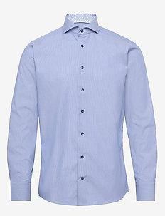 Blue hairline striped shirt – navy details - basic shirts - blue