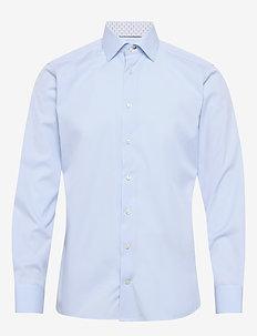 Poplin shirt – micro print details - basic shirts - blue