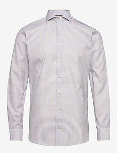 Checked cotton-tencel shirt - chemises à carreaux - offwhite/brown