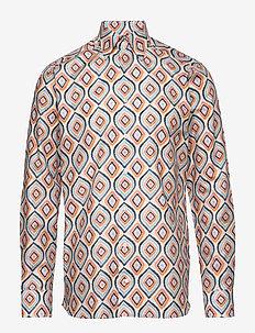 Retro geometric print shirt - WHITE