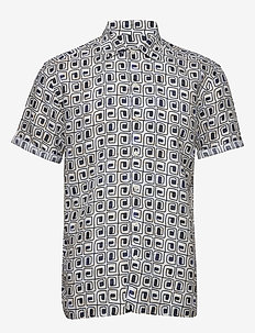 Block print linen Resort shirt - linen shirts - white