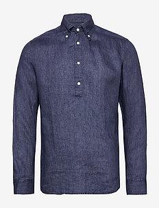 Luxe linen popover shirt - basic-hemden - blue