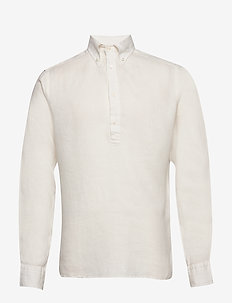 Luxe linen popover shirt - peruspaitoja - white