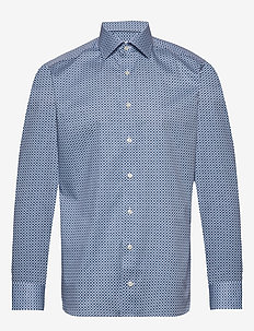 Beige medallions print shirt - business shirts - blue