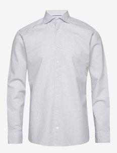 Navy checked cotton silk shirt – soft - checkered shirts - blue