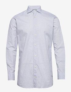 Navy checked cotton silk shirt – soft - checkered shirts - navy
