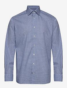 Block print poplin shirt - biznesowa - blue