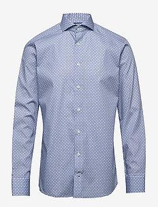 Block print poplin shirt - business shirts - blue