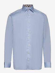 White twill shirt - flower details - chemises basiques - blue
