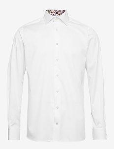 White twill shirt - flower details - basic shirts - white