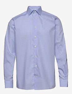 Blue & white checked shirt - chemises à carreaux - blue