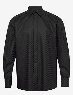 Chessboard check evening shirt - checkered shirts - black